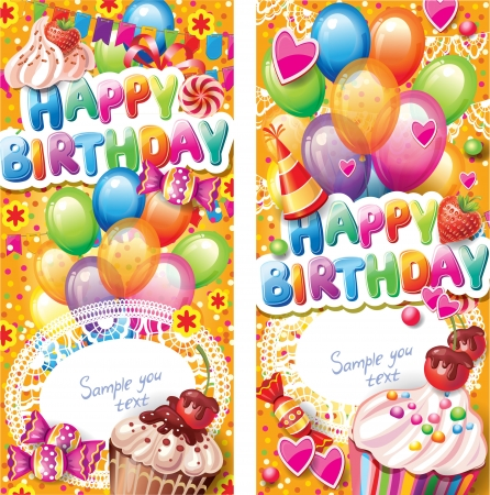 birthday invitation: Happy birthday vertical cards