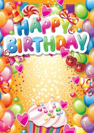 テキストのための場所で幸せな誕生日カードのテンプレート  イラスト・ベクター素材