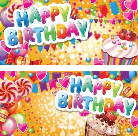 happy birthday cartoon: Happy birthday horizontal cards