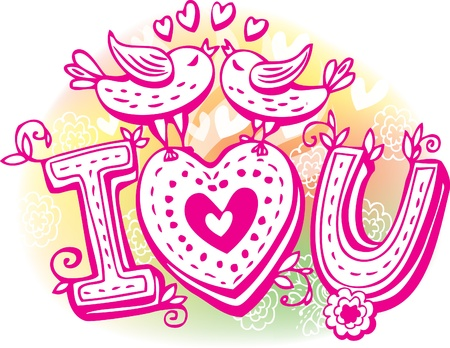 Love sketchy with birds and heart Vector