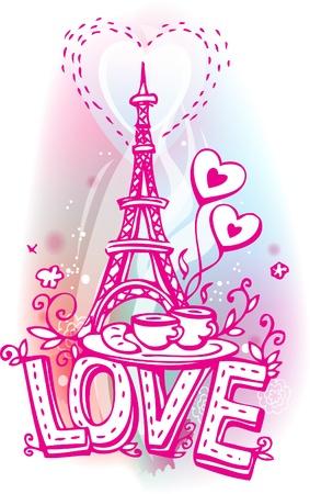 Tour Eiffel café et un croissant Banque d'images - 17594550