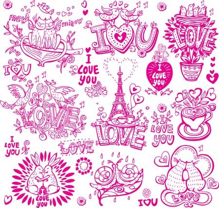 lovebird: Set of hand drawn love sketchy