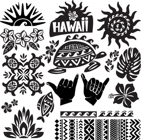Hawaii Set in black and white Illustration