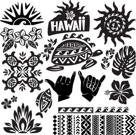 aloha: Hawaii Set in schwarz und wei� Illustration
