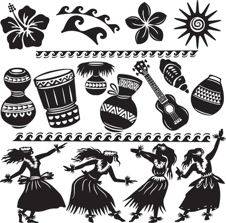 hawaiian culture: Hawaiian Set with dancers and musical instruments