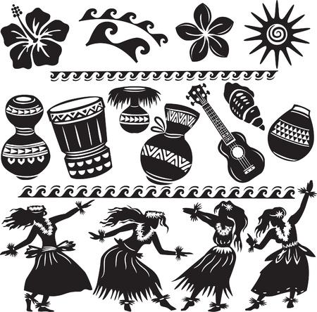 hawaiana: Set hawaiana con bailarines e instrumentos musicales