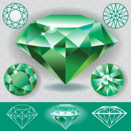 Green diamond emerald gemstone Stock Vector - 17991014