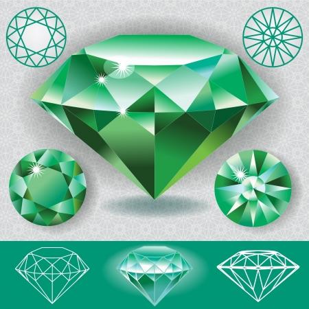 Green diamond emerald gemstone