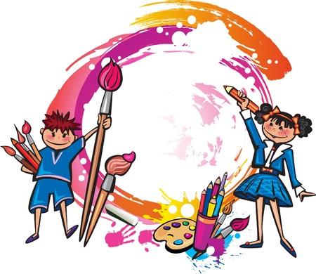 어린이 그리기 다채로운 배너