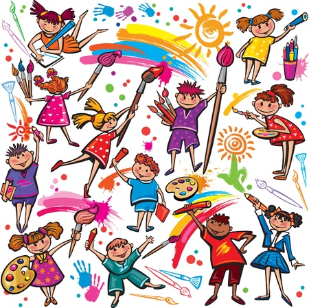 Happy children drawing with brush and colorful crayons Vector