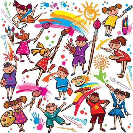 Niños felices de dibujo con lápices de colores y pincel