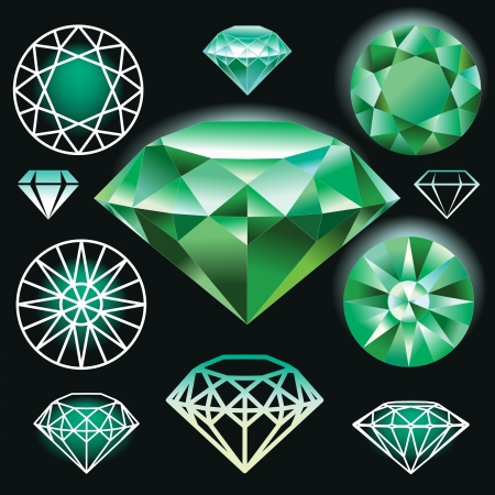 mineral stone: Set of green diamond Illustration