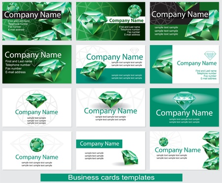 Set of business card template with emerald Stock Vector - 18702430