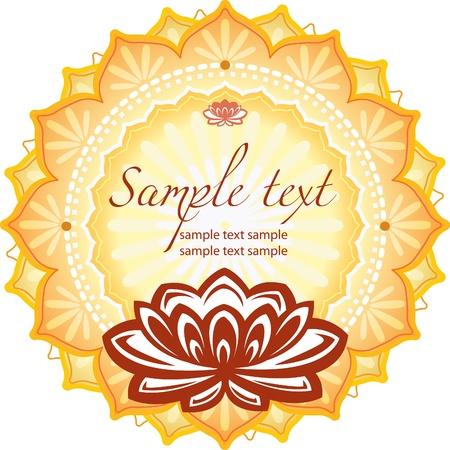 Frame with lotus  Stock Illustratie
