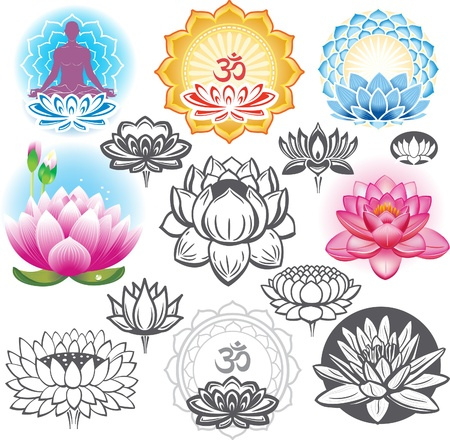 flor loto: Conjunto de flores de loto y símbolos esotéricos