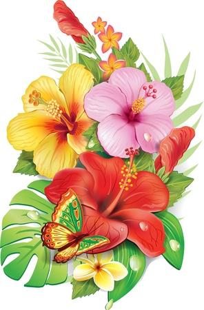 열대 꽃의 꽃다발
