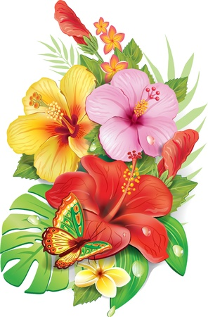 stamens: Bouquet of tropical flowers