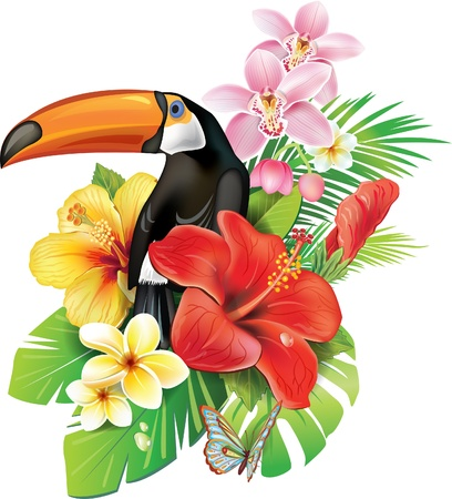 Tropical flowers and toucan Stock Illustratie
