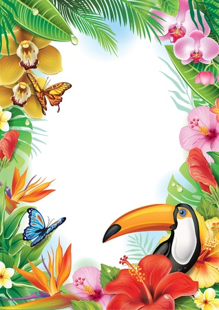 Frame with tropical flowers, butterflies and toucan Stock Illustratie