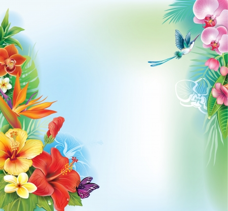 tropical rainforest: Background from tropical flowers and leaves Illustration
