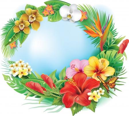 熱帯の花と葉からの円形の旗  イラスト・ベクター素材