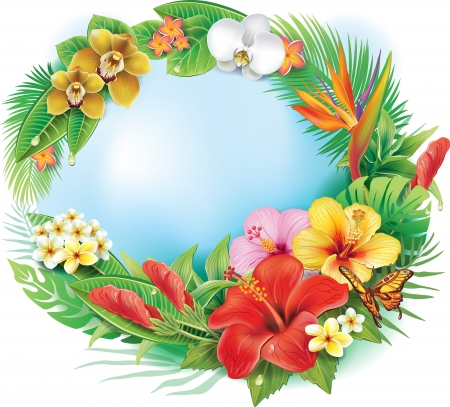 Round banner from tropical flowers and leaves
