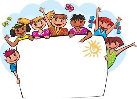 Enfants derrière la bannière Banque d'images - 21670797