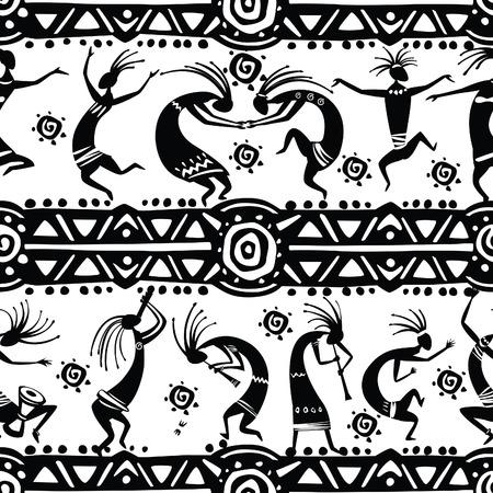 Seamless texture with dancing figures Stock Illustratie