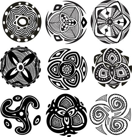 둥근 장식 패턴 일러스트