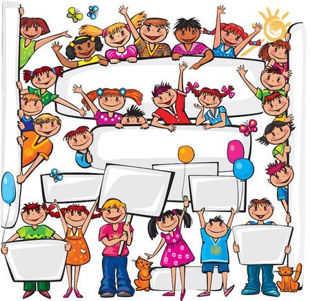 Set of kids standing behind placard Stock Illustratie