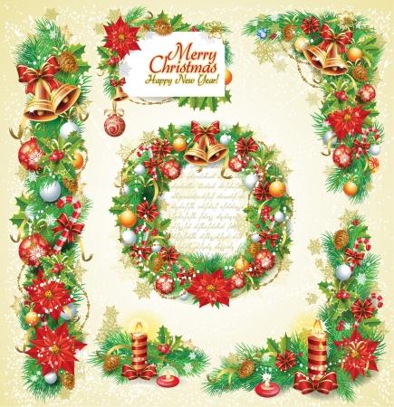 weihnachtsschleife: Satz von Weihnachten-Banner Illustration