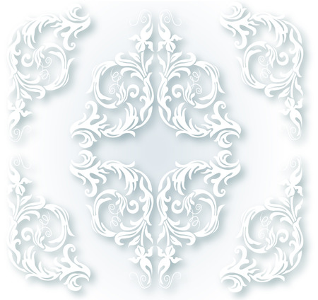 typographic: White ornament for design elements Illustration