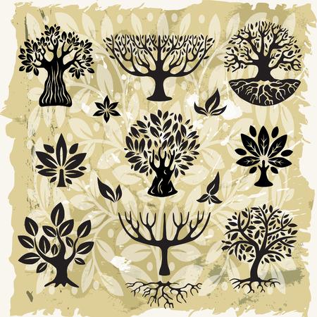 grunge tree: Stylized trees Illustration