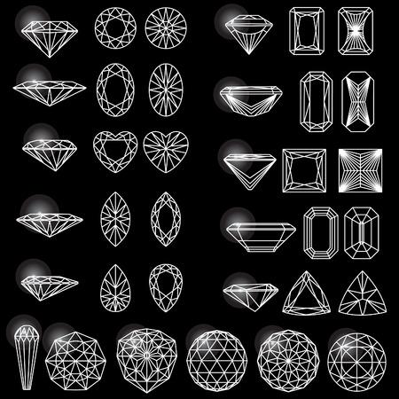 carats: Set of shapes of diamond Illustration
