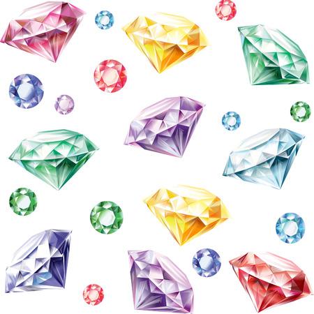 karat: Seamless pattern from diamonds of different colors Illustration