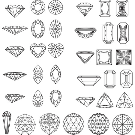 Set of shapes of diamond in wireframe Vettoriali