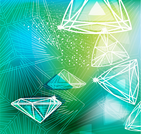 karat: Abstract green background with linear diamonds cutting Illustration