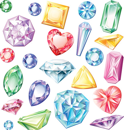 gemstone jewelry: Set of precious stones of different cuts and colors