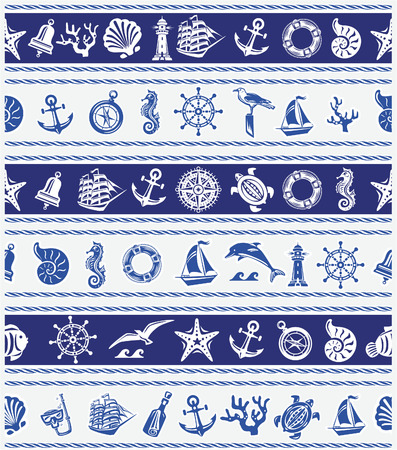 dolphin silhouette: Borders with Nautical and sea symbols
