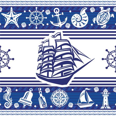 horsefish: Banderas con s�mbolos n�uticos y barco