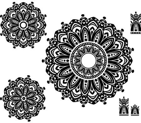 mehendi: Round Ornament Pattern with pattern brash