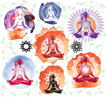 meditate: Silhouette of woman meditating in lotus position on round pattern