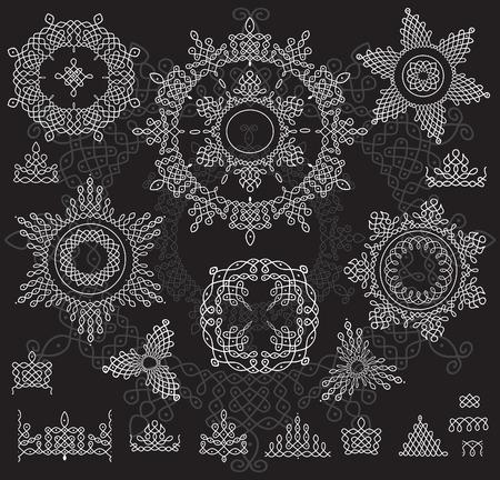 rangoli: Round Ornament Pattern with pattern brash. Rangoli