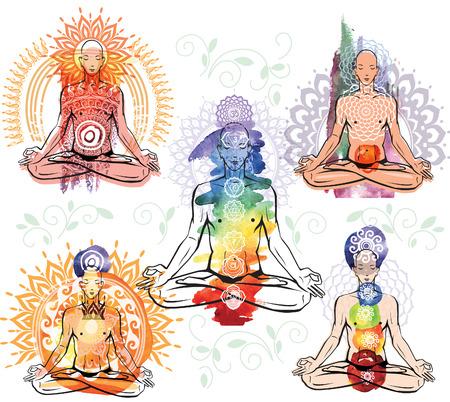 man meditating: Sketch of man meditating in lotus position