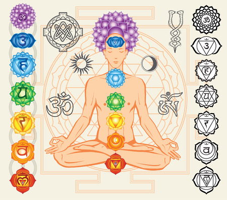 sahasrara: Silhouette of man with chakras and esoteric symbols