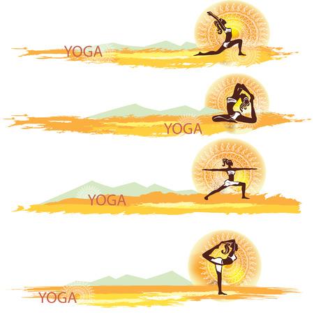 Yoga Set of banners Vector
