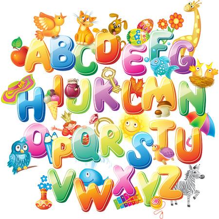 Alfabeto para los niños con fotos Foto de archivo - 31496293