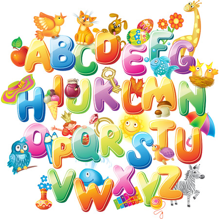 Alphabet for kids with pictures Vector