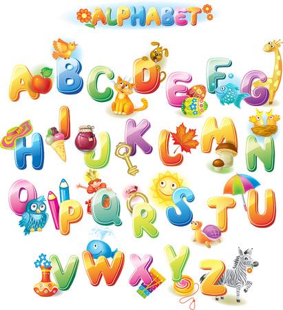 lettre alphabet: Alphabet pour les enfants avec des images Illustration