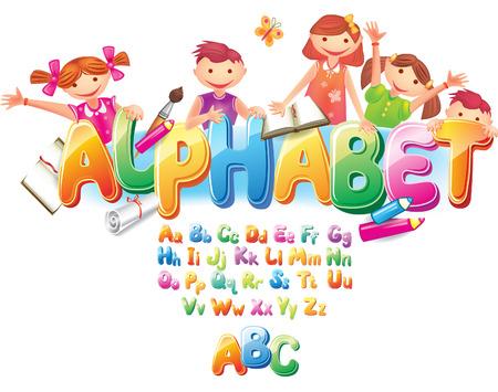 小さな子ども連れのアルファベット  イラスト・ベクター素材